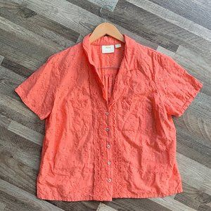 Maeve by Anthropologie V Neck Eyelet Button Blouse